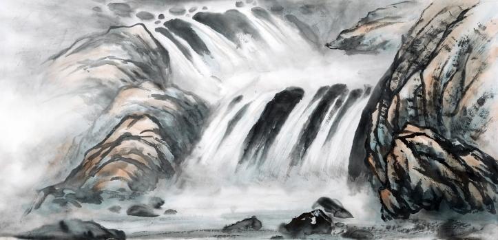 håndmalt bilde foss og steiner kinesisk shutterstock