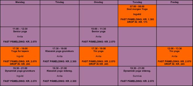 timeplan sommer